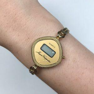 Vintage gold tone digital watch quartz Art Deco